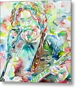 Jerry Garcia Playing The Guitar Watercolor Portrait.2 Metal Print