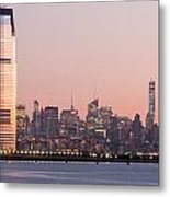 Jersey City And New York City  With Manhattan Skyline Over Hudso Metal Print