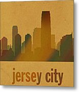 Jersey City New Jersey City Skyline Watercolor On Parchment Metal Print
