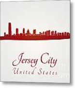 Jersey City Skyline In Red Metal Print