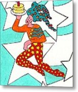 Jester With Cake Metal Print