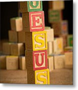 Jesus - Alphabet Blocks Metal Print