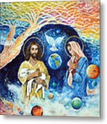 Jesus And Mary Cloud Colored Christ Come Metal Print