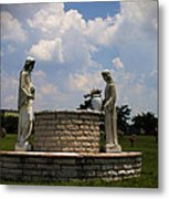 Jesus And The Woman At The Well Cemetery Statues Metal Print