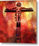 Jesus Christ On The Cross Metal Print