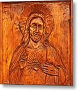 Jesus From A Door Panel At Santuario De Chimayo Metal Print