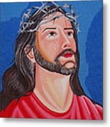 Jesus Hand Embroidery Metal Print by To-Tam Gerwe