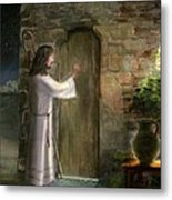 Jesus Knocking On The Door Metal Print by Cecilia Brendel