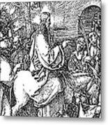 Jesus On The Donkey Palm Sunday Etching Metal Print