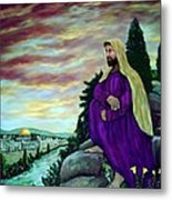 Jesus Overlooking Jerusalem -1 Metal Print by Ave Hurley