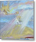 Jesus Raising His Banner Over Mexico Metal Print