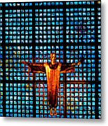 Jesus Sculpture And Blue Glass Background Metal Print