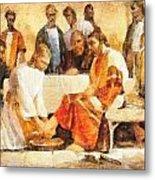 Jesus Washing Apostle's Feet Metal Print