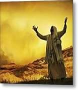 Jesus With Arms Stretched Towards Heaven Metal Print