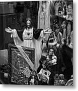 Jesus With Arms Wide Open Religious Figurines In A Shop Window In Toronto Metal Print