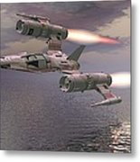 Jet Flying Low Metal Print