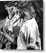 Jeter And Mariano Metal Print by Jerry Winick