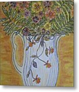 Jewel Tea Pitcher With Marigolds Metal Print