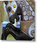 Jeweled Carousel Prancing Horse Metal Print