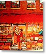 Jewish Culture In Montreal Paintings Of Warshaw's Fruit Store On St.lawrence Street Scene Art  Metal Print