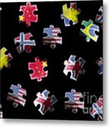 Jigsaw Puzzle Flag Pieces Metal Print