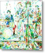 Jim Morrison And The Doors Live On Stage- Watercolor Portrait Metal Print