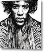 Jimi Hendrix Art Drawing Sketch Portrait Metal Print