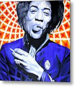 Jimi Hendrix-orange And Blue Metal Print