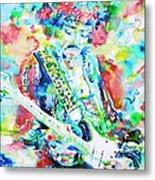 Jimi Hendrix Playing The Guitar.2 -watercolor Portrait Metal Print