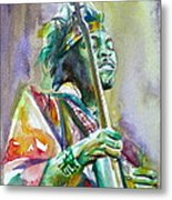 Jimi Hendrix Playing The Guitar.5 -watercolor Portrait Metal Print