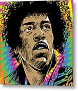 Jimi Hendrix Pop Art Metal Print