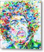 Jimi Hendrix  - Watercolor Portrait.3 Metal Print