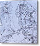 Jimmy Page And Robert Plant Live Concert-pen Portrait Metal Print