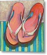 Pink Flip Flops Metal Print