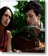 Joan Baez With Bob Dylan Metal Print