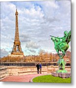 Joan Of Arc And The Eiffel Tower Metal Print