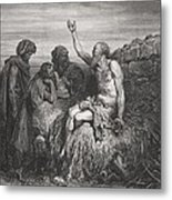 Job And His Friends Metal Print by Gustave Dore
