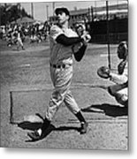 Joe Dimaggio Hits A Belter Metal Print
