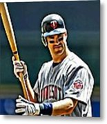 Joe Mauer Painting Metal Print