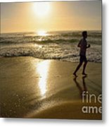 Jogging At Sunrise By Kaye Menner Metal Print