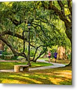 Jogging In City Park Metal Print