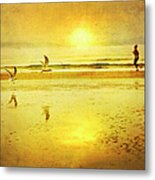 Jogging On Beach With Gulls Metal Print