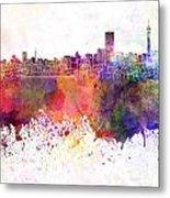 Johannesburg Skyline In Watercolor Background Metal Print