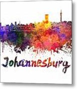 Johannesburg Skyline In Watercolor Metal Print