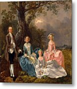 John And Ann Gravenor With Their Daughters Metal Print
