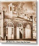 John Browns Fort - Harpers Ferry West Virginia - Modern Day Sepia Metal Print by Michael Mazaika