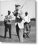 John D. Rockefeller Golfing Metal Print