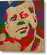 John F Kennedy Jfk Watercolor Portrait On Worn Distressed Canvas Metal Print by Design Turnpike