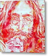 John Lennon With Rose Metal Print
