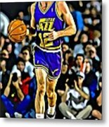 John Stockton Portrait Metal Print